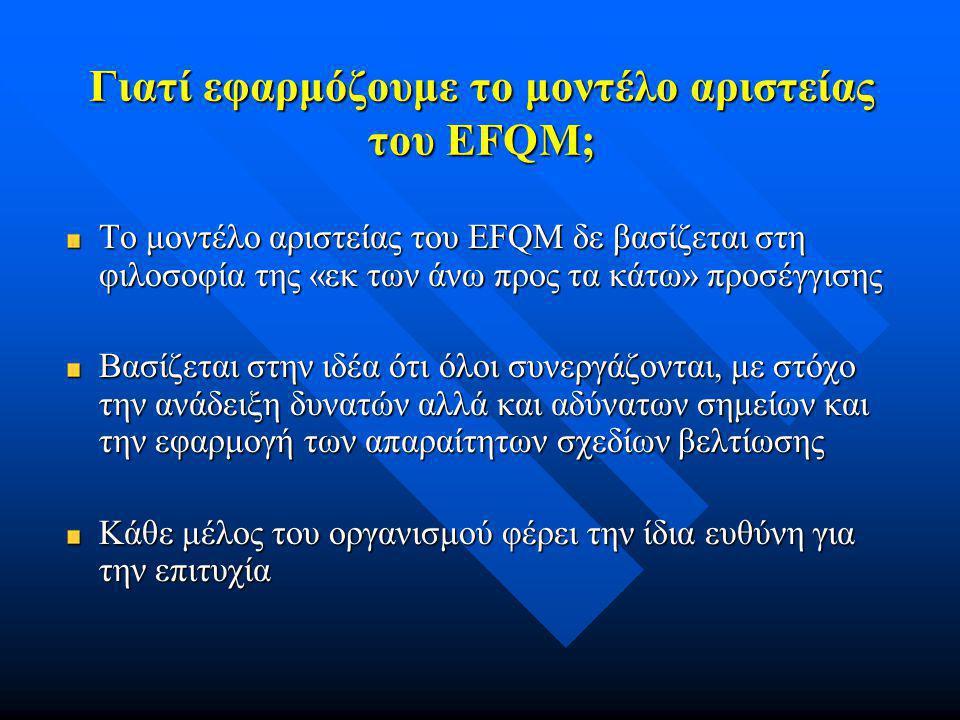 Γιατί εφαρμόζουμε το μοντέλο αριστείας του EFQM; Το μοντέλο αριστείας του EFQM δε βασίζεται στη φιλοσοφία της «εκ των άνω προς τα κάτω» προσέγγισης Βα