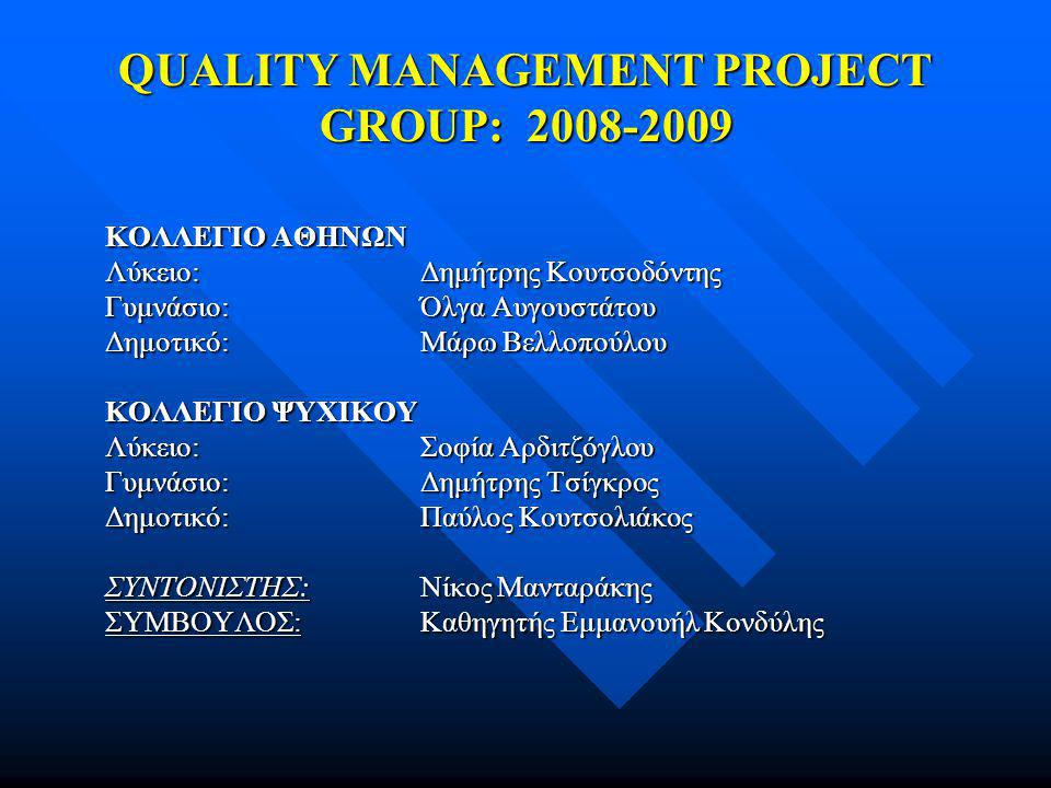QUALITY MANAGEMENT PROJECT GROUP: 2008-2009 ΚΟΛΛΕΓΙΟ ΑΘΗΝΩΝ Λύκειο:Δημήτρης Κουτσοδόντης Γυμνάσιο:Όλγα Αυγουστάτου Δημοτικό:Μάρω Βελλοπούλου ΚΟΛΛΕΓΙΟ ΨΥΧΙΚΟΥ Λύκειο:Σοφία Αρδιτζόγλου Γυμνάσιο:Δημήτρης Τσίγκρος Δημοτικό:Παύλος Κουτσολιάκος ΣΥΝΤΟΝΙΣΤΗΣ:Νίκος Μανταράκης ΣΥΜΒΟΥΛΟΣ:Καθηγητής Εμμανουήλ Κονδύλης