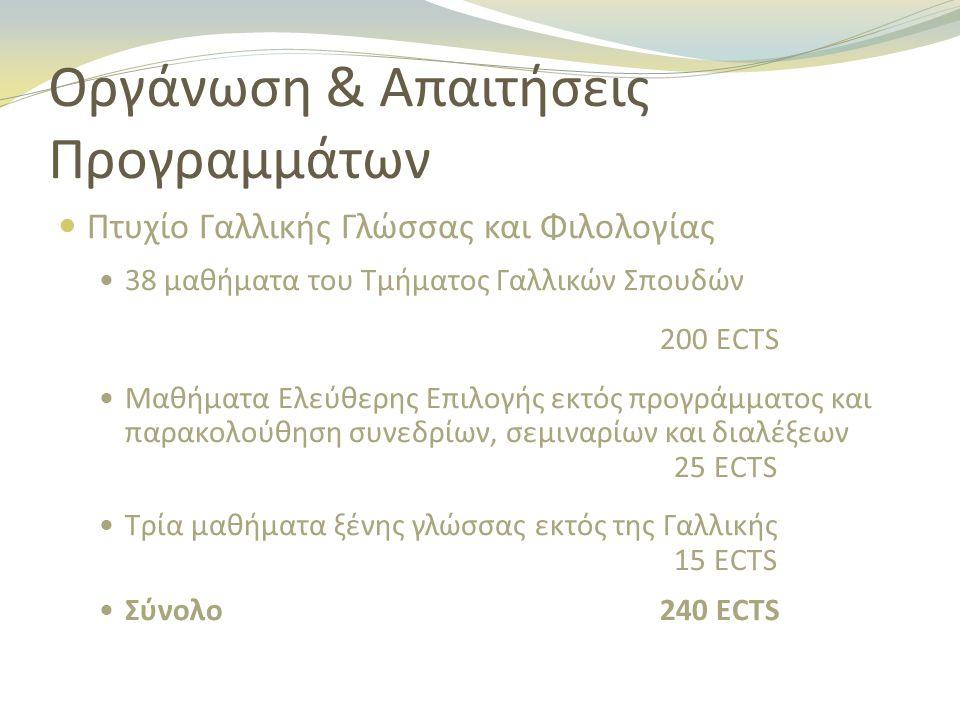 Οργάνωση & Απαιτήσεις Προγραμμάτων Πτυχίο Γαλλικής Γλώσσας και Φιλολογίας 38 μαθήματα του Τμήματος Γαλλικών Σπουδών 200 ECTS Μαθήματα Ελεύθερης Επιλογής εκτός προγράμματος και παρακολούθηση συνεδρίων, σεμιναρίων και διαλέξεων 25 ECTS Τρία μαθήματα ξένης γλώσσας εκτός της Γαλλικής 15 ECTS Σύνολο240 ECTS