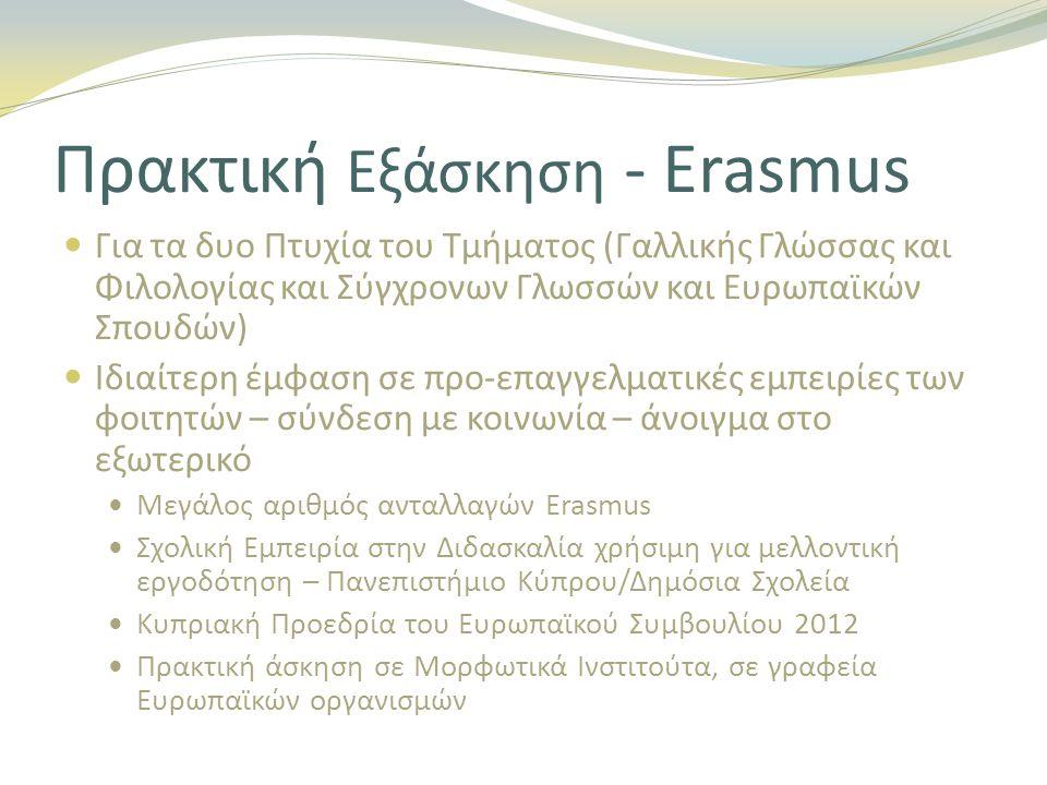 Πρακτική Εξάσκηση - Erasmus Για τα δυο Πτυχία του Τμήματος (Γαλλικής Γλώσσας και Φιλολογίας και Σύγχρονων Γλωσσών και Ευρωπαϊκών Σπουδών) Ιδιαίτερη έμφαση σε προ-επαγγελματικές εμπειρίες των φοιτητών – σύνδεση με κοινωνία – άνοιγμα στο εξωτερικό Μεγάλος αριθμός ανταλλαγών Erasmus Σχολική Εμπειρία στην Διδασκαλία χρήσιμη για μελλοντική εργοδότηση – Πανεπιστήμιο Κύπρου/Δημόσια Σχολεία Κυπριακή Προεδρία του Ευρωπαϊκού Συμβουλίου 2012 Πρακτική άσκηση σε Μορφωτικά Ινστιτούτα, σε γραφεία Ευρωπαϊκών οργανισμών