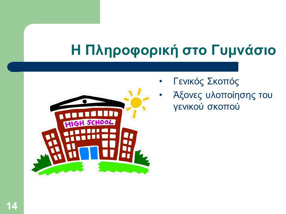 14 Η Πληροφορική στο Γυμνάσιο Γενικός Σκοπός Άξονες υλοποίησης του γενικού σκοπού