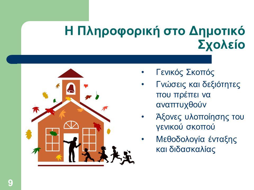 9 Η Πληροφορική στο Δημοτικό Σχολείο Γενικός Σκοπός Γνώσεις και δεξιότητες που πρέπει να αναπτυχθούν Άξονες υλοποίησης του γενικού σκοπού Μεθοδολογία ένταξης και διδασκαλίας