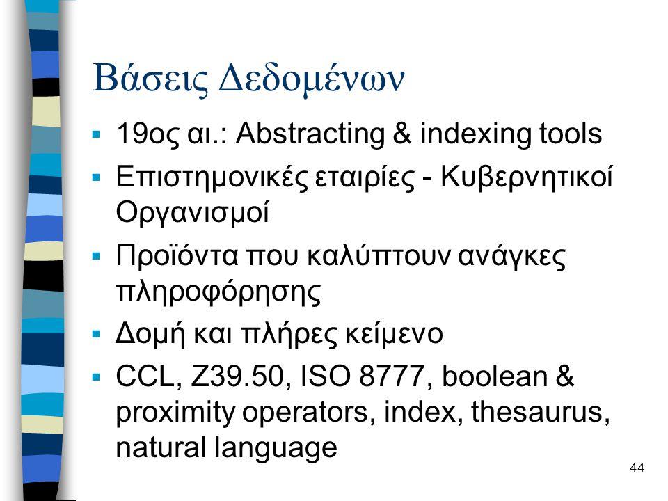 44 Βάσεις Δεδομένων  19ος αι.: Abstracting & indexing tools  Επιστημονικές εταιρίες - Κυβερνητικοί Οργανισμοί  Προϊόντα που καλύπτουν ανάγκες πληρο