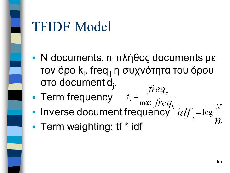 55 TFIDF Model  N documents, n i πλήθος documents με τον όρο k i, freq ij η συχνότητα του όρου στο document d j.  Term frequency  Inverse document