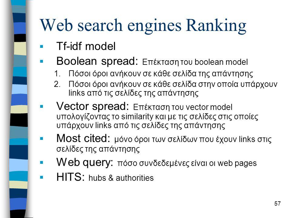 57 Web search engines Ranking  Tf-idf model  Boolean spread: Επέκταση του boolean model 1.Πόσοι όροι ανήκουν σε κάθε σελίδα της απάντησης 2.Πόσοι όρ