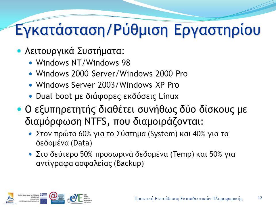 Πρακτική Εκπαίδευση Εκπαιδευτικών Πληροφορικής Εγκατάσταση/Ρύθμιση Εργαστηρίου Λειτουργικά Συστήματα: Windows NT/Windows 98 Windows 2000 Server/Window