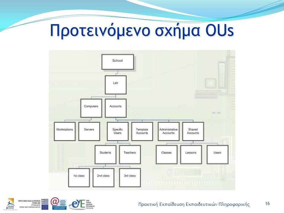 Πρακτική Εκπαίδευση Εκπαιδευτικών Πληροφορικής Προτεινόμενο σχήμα OUs 16