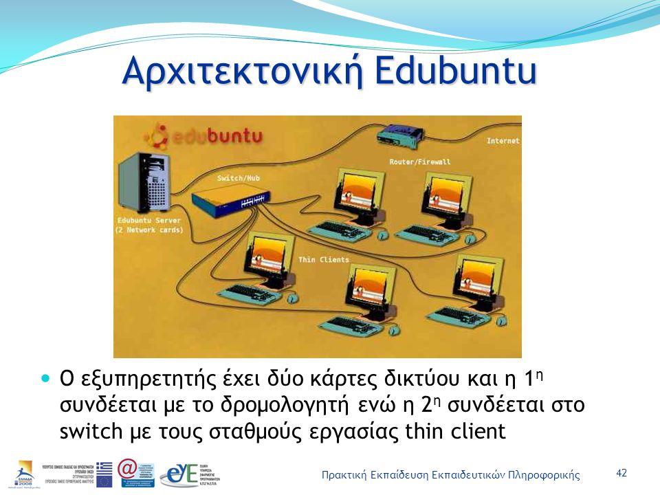 Πρακτική Εκπαίδευση Εκπαιδευτικών Πληροφορικής Αρχιτεκτονική Edubuntu Ο εξυπηρετητής έχει δύο κάρτες δικτύου και η 1 η συνδέεται με το δρομολογητή ενώ