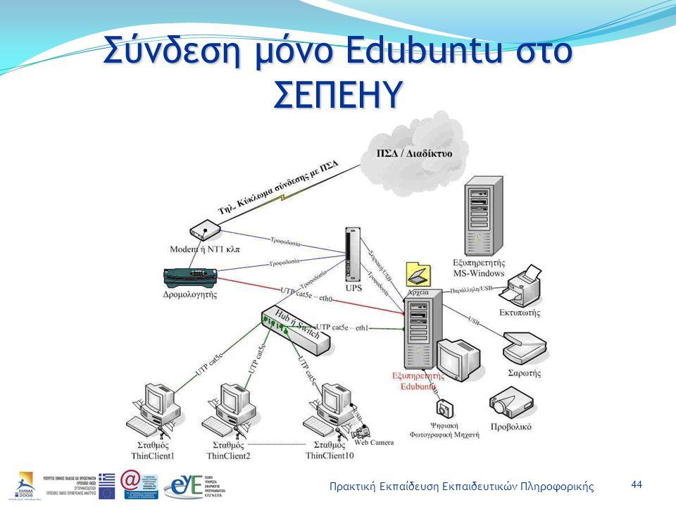 Πρακτική Εκπαίδευση Εκπαιδευτικών Πληροφορικής Σύνδεση μόνο Edubuntu στο ΣΕΠΕΗΥ 44