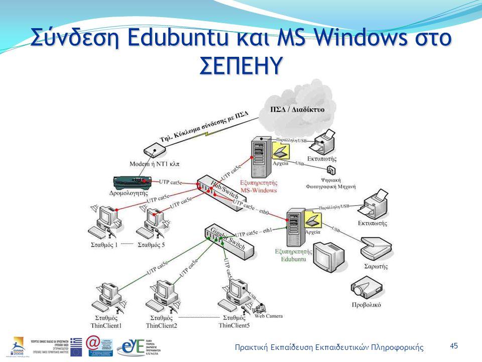 Πρακτική Εκπαίδευση Εκπαιδευτικών Πληροφορικής Σύνδεση Edubuntu και MS Windows στο ΣΕΠΕΗΥ 45