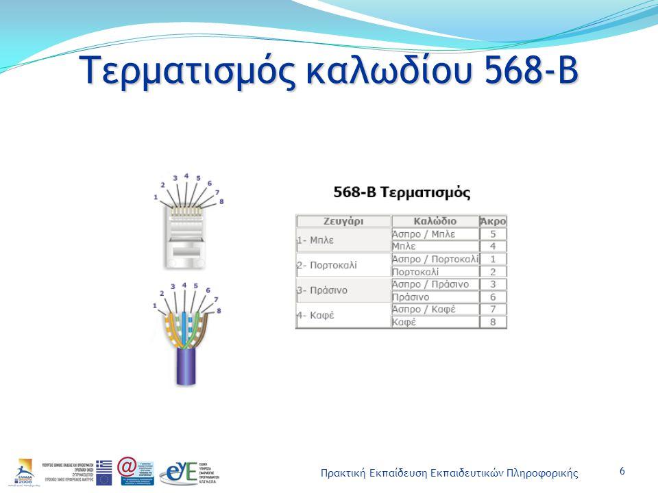 Πρακτική Εκπαίδευση Εκπαιδευτικών Πληροφορικής Τερματισμός καλωδίου 568-Β 6