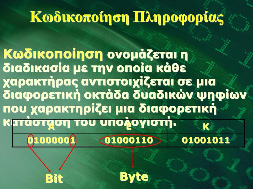 Κωδικοποίηση Πληροφορίας Κωδικοποίηση ονομάζεται η διαδικασία με την οποία κάθε χαρακτήρας αντιστοιχίζεται σε μια διαφορετική οκτάδα δυαδικών ψηφίων που χαρακτηρίζει μια διαφορετική κατάσταση του υπολογιστή.