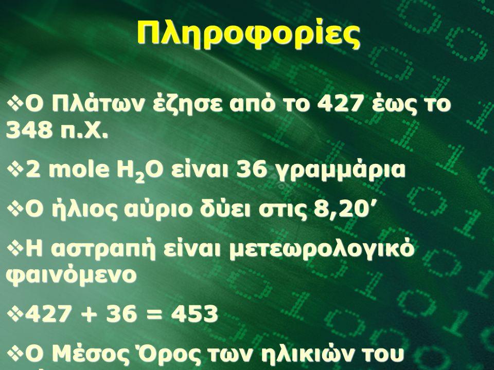Πληροφορίες  Ο Πλάτων έζησε από το 427 έως το 348 π.Χ.  2 mole Η 2 Ο είναι 36 γραμμάρια  Ο ήλιος αύριο δύει στις 8,20'  Η αστραπή είναι μετεωρολογ