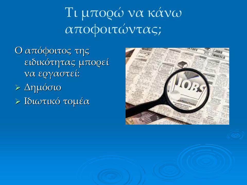Στον Δημόσιο τομέα  Ανάλογα με τον βαθμό του τίτλου: Χειριστής ΗΥ (ΔΕ) Χειριστής ΗΥ (ΔΕ) Τεχνικός ΗΥ (ΔΕ) Τεχνικός ΗΥ (ΔΕ) Τεχνικός Δικτύων ΗΥ (ΔΕ) Τεχνικός Δικτύων ΗΥ (ΔΕ)