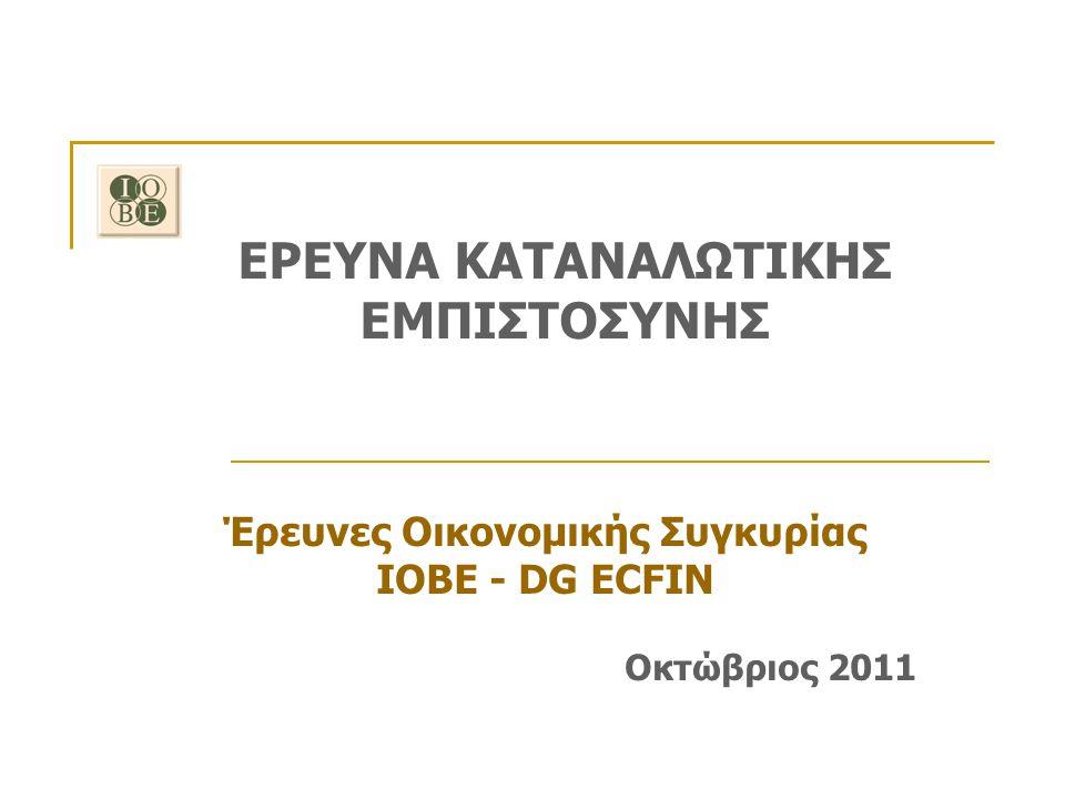 Οκτώβριος 2011 Έρευνα Καταναλωτικής Εμπιστοσύνης ΙΟΒΕ - DG ECFIN Μηνιαίες εκτιμήσεις: Αποτίμηση οικονομικής κατάστασης των νοικοκυριών Άνοδος του ποσοστού των νοικοκυριών που δηλώνει ότι «έχει χρεωθεί» Οκτώβριος Σεπτέμβριος