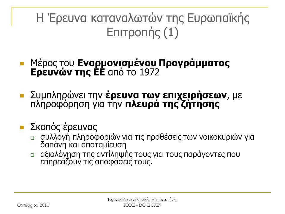 Οκτώβριος 2011 Έρευνα Καταναλωτικής Εμπιστοσύνης ΙΟΒΕ - DG ECFIN H Έρευνα καταναλωτών της Ευρωπαϊκής Επιτροπής (2) Η Έρευνα καλύπτει ένα ευρύ φάσμα ερωτήσεων  Εκτίμηση / πρόβλεψη οικονομικής κατάστασης νοικοκυριού, τους τελευταίους / προσεχείς 12 μήνες  Εκτίμηση / πρόβλεψη γενικής οικονομικής κατάστασης χώρας τους τελευταίους / προσεχείς 12 μήνες  Εκτίμηση / πρόβλεψη επιπέδου τιμών, τους τελευταίους / προσεχείς 12 μήνες  Πρόβλεψη επιπέδου ανεργίας τους προσεχείς 12 μήνες  Εκτίμηση τρεχουσών κυρίων αγορών αγαθών διαρκείας και πρόθεση αγοράς τους επόμενους 12 μήνες  Τρέχον επίπεδο αποταμίευσης και πρόθεση αποταμίευσης τους προσεχείς 12 μήνες  Δυνατότητα αποταμίευσης  Πρόθεση αγοράς αυτοκινήτου ή κατοικίας τους προσεχείς 12 μήνες  Πρόθεση αγοράς κατοικίας τους προσεχείς 12 μήνες  Πρόθεση καταβολής δαπανών για βελτίωση της κατοικίας τους προσεχείς 12 μήνες