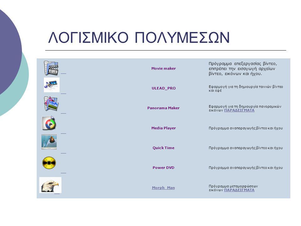 ΛΟΓΙΣΜΙΚΟ ΠΟΛΥΜΕΣΩΝ Movie maker Πρόγραμμα επεξεργασίας βίντεο, επιτρέπει την εισαγωγή αρχείων βίντεο, εικόνων και ήχου. ULEAD_PRO Εφαρμογή για τη δημι