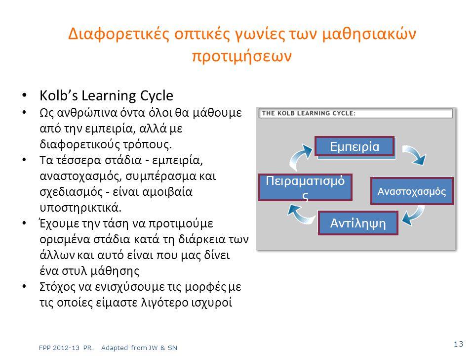 Kolb's Learning Cycle Ως ανθρώπινα όντα όλοι θα μάθουμε από την εμπειρία, αλλά με διαφορετικούς τρόπους. Τα τέσσερα στάδια - εμπειρία, αναστοχασμός, σ
