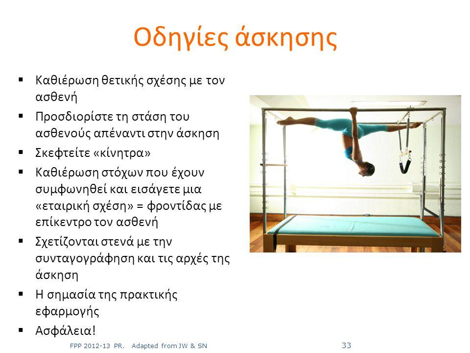 Οδηγίες άσκησης  Καθιέρωση θετικής σχέσης με τον ασθενή  Προσδιορίστε τη στάση του ασθενούς απέναντι στην άσκηση  Σκεφτείτε «κίνητρα»  Καθιέρωση σ