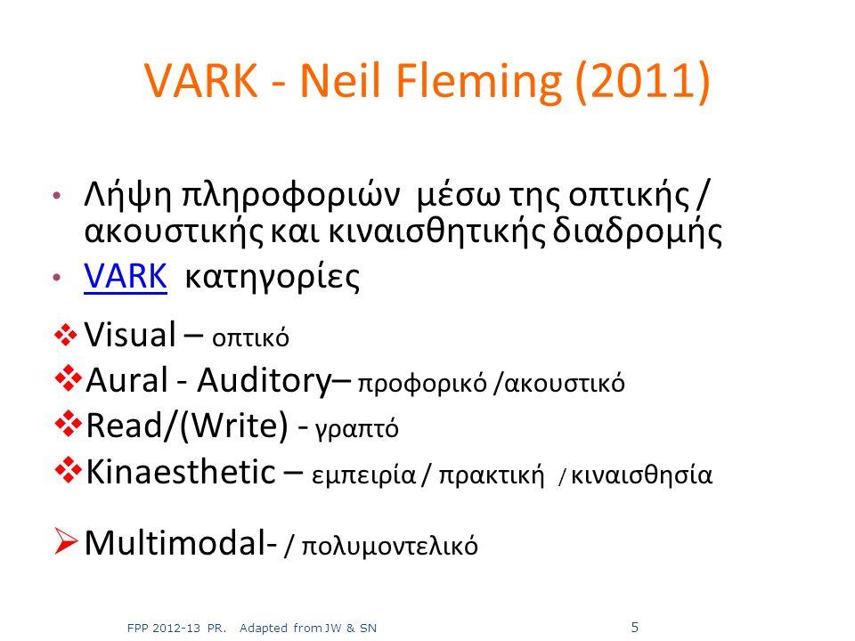 Λήψη πληροφοριών μέσω της οπτικής / ακουστικής και κιναισθητικής διαδρομής VARK κατηγορίες VARK  Visual – οπτικό  Aural - Auditory– προφορικό /ακουσ