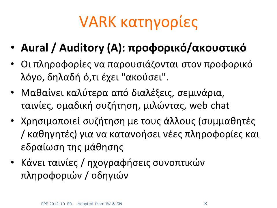 Aural / Auditory (A): προφορικό/ακουστικό Οι πληροφορίες να παρουσιάζονται στον προφορικό λόγο, δηλαδή ό,τι έχει
