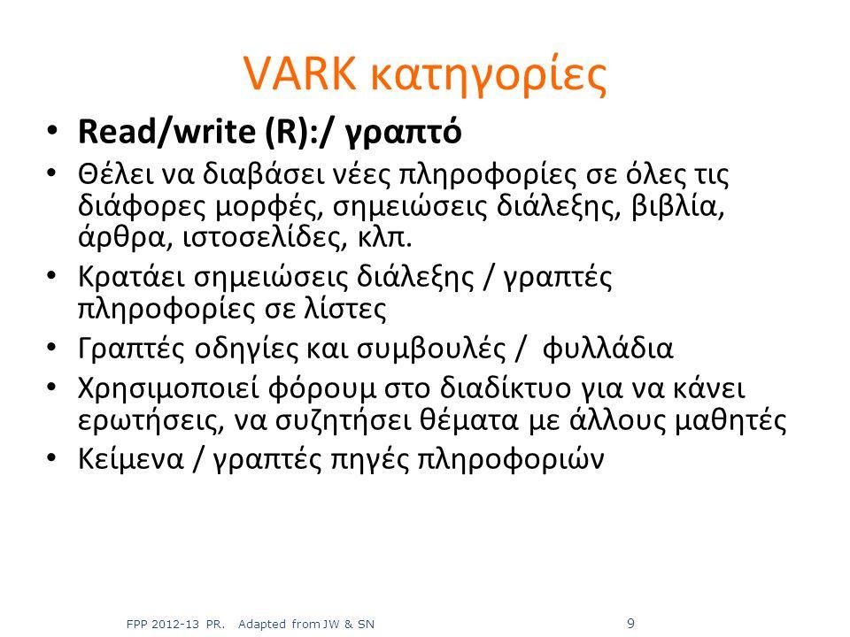 Read/write (R):/ γραπτό Θέλει να διαβάσει νέες πληροφορίες σε όλες τις διάφορες μορφές, σημειώσεις διάλεξης, βιβλία, άρθρα, ιστοσελίδες, κλπ. Κρατάει