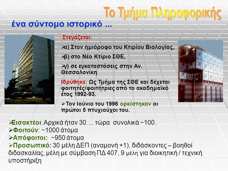 Στεγάζεται:  α) Στον ημιόροφο του Κτιρίου Βιολογίας,  β) στο Νέο Κτίριο ΣΘΕ,  γ) σε εγκαταστάσεις στην Αν. Θεσσαλονίκη Ιδρύθηκε: Ως Τμήμα της ΣΘΕ κ