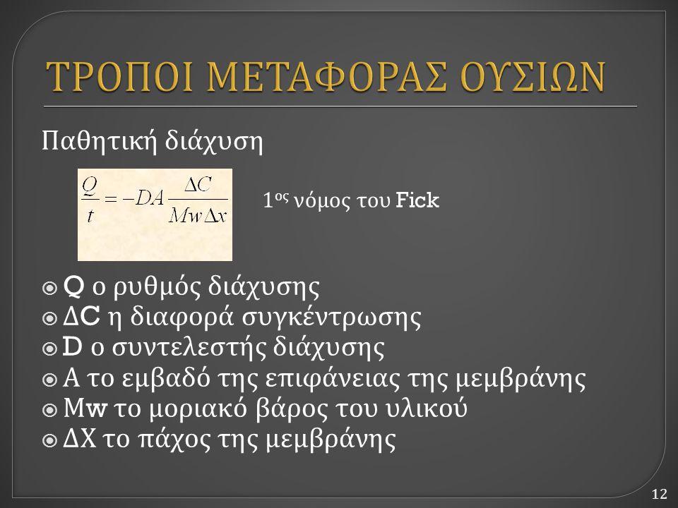 12 Παθητική διάχυση 1 ος νόμος του Fick  Q ο ρυθμός διάχυσης  Δ C η διαφορά συγκέντρωσης  D ο συντελεστής διάχυσης  Α το εμβαδό της επιφάνειας της μεμβράνης  Μ w το μοριακό βάρος του υλικού  ΔΧ το πάχος της μεμβράνης