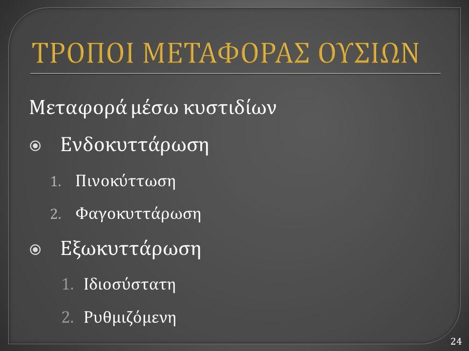 24 ΤΡΟΠΟΙ ΜΕΤΑΦΟΡΑΣ ΟΥΣΙΩΝ Μεταφορά μέσω κυστιδίων  Ενδοκυττάρωση 1. Πινοκύττωση 2. Φαγοκυττάρωση  Εξωκυττάρωση 1.Ιδιοσύστατη 2.Ρυθμιζόμενη