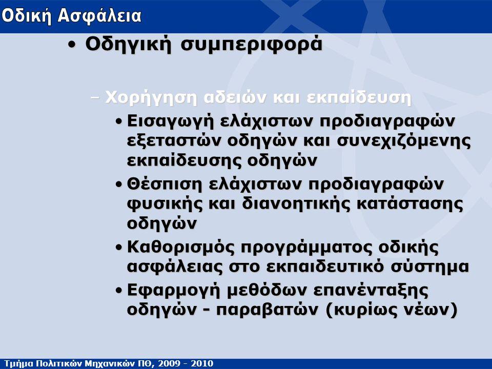 Τμήμα Πολιτικών Μηχανικών ΠΘ, 2009 - 2010 Οδηγική συμπεριφοράΟδηγική συμπεριφορά –Χορήγηση αδειών και εκπαίδευση Εισαγωγή ελάχιστων προδιαγραφών εξετα