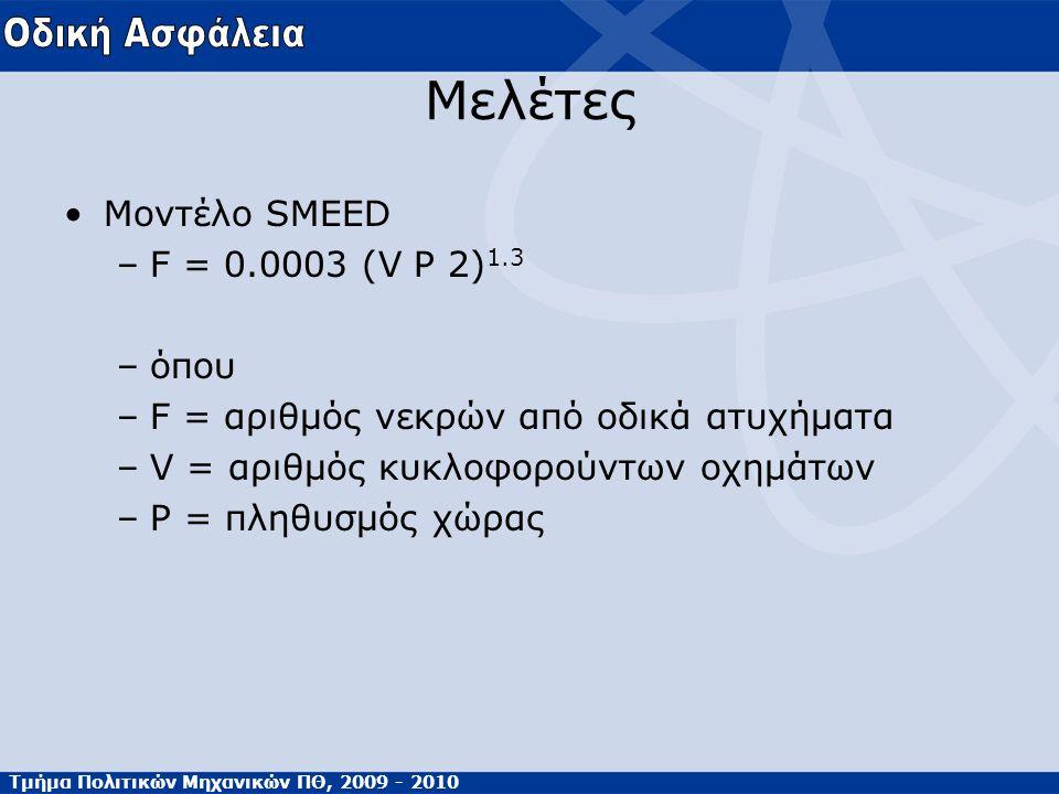 Τμήμα Πολιτικών Μηχανικών ΠΘ, 2009 - 2010 Μελέτες Μοντέλο SMEED –F = 0.0003 (V P 2) 1.3 –όπου –F = αριθμός νεκρών από οδικά ατυχήματα –V = αριθμός κυκ