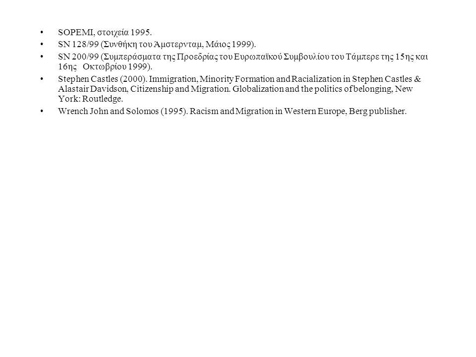 SOPEMI, στοιχεία 1995. SN 128/99 (Συνθήκη του Άμστερνταμ, Μάιος 1999). SN 200/99 (Συμπεράσματα της Προεδρίας του Ευρωπαϊκού Συμβουλίου του Τάμπερε της