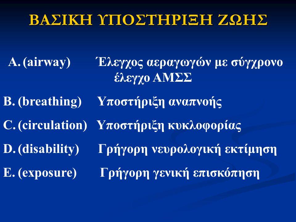 ΒΑΣΙΚΗ ΥΠΟΣΤΗΡΙΞΗ ΖΩΗΣ A.(airway) Έλεγχος αεραγωγών με σύγχρονο έλεγχο ΑΜΣΣ B.(breathing) Υποστήριξη αναπνοής C.(circulation) Υποστήριξη κυκλοφορίας D.(disability) Γρήγορη νευρολογική εκτίμηση E.(exposure) Γρήγορη γενική επισκόπηση