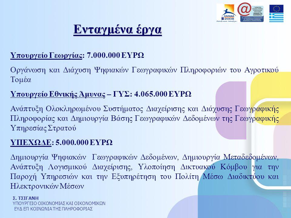 Σ. ΤΣΙΓΑΝΗ ΥΠΟΥΡΓΕΙΟ ΟΙΚΟΝΟΜΙΑΣ ΚΑΙ ΟΙΚΟΝΟΜΙΚΩΝ ΕΥΔ ΕΠ ΚΟΙΝΩΝΙΑ ΤΗΣ ΠΛΗΡΟΦΟΡΙΑΣ Υπουργείο Γεωργίας: 7.000.000 ΕΥΡΩ Οργάνωση και Διάχυση Ψηφιακών Γεωγρ