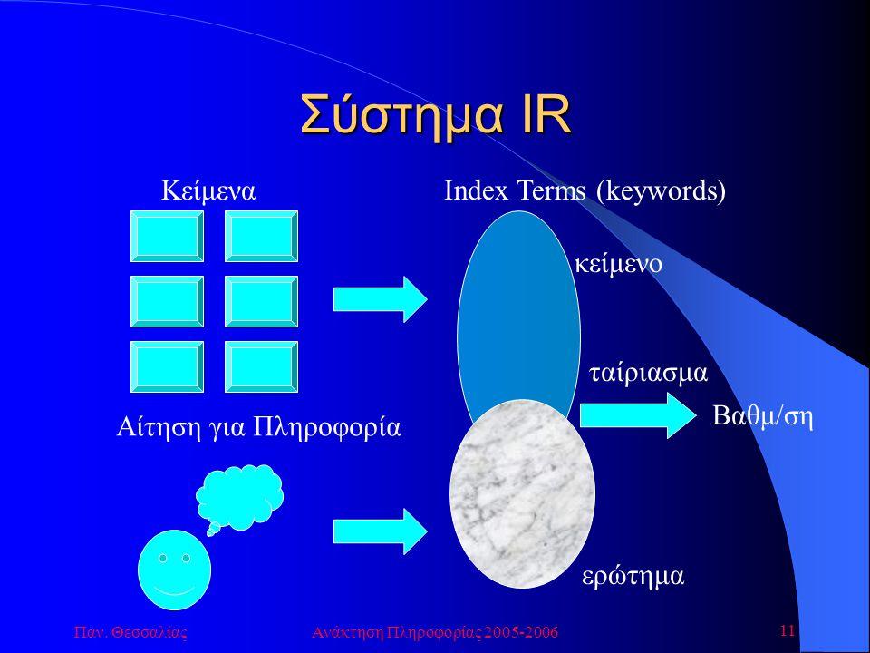Παν. ΘεσσαλίαςΑνάκτηση Πληροφορίας 2005-2006 11 Κείμενα Αίτηση για Πληροφορία Index Terms (keywords) κείμενο ερώτημα Βαθμ/ση ταίριασμα Σύστημα IR