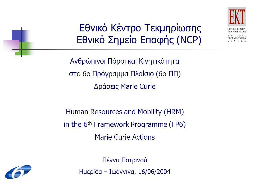 Εθνικό Κέντρο Τεκμηρίωσης Εθνικό Σημείο Επαφής (NCP) Ανθρώπινοι Πόροι και Κινητικότητα στο 6ο Πρόγραμμα Πλαίσιο (6ο ΠΠ) Δράσεις Marie Curie Human Resources and Mobility (HRM) in the 6 th Framework Programme (FP6) Marie Curie Actions Πέννυ Πατρινού Ημερίδα – Ιωάννινα, 16/06/2004