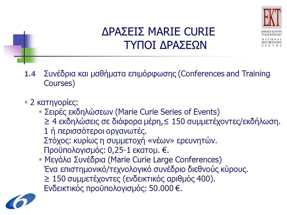 ΔΡΑΣΕΙΣ MARIE CURIE ΤΥΠΟΙ ΔΡΑΣΕΩΝ 1.4 Συνέδρια και μαθήματα επιμόρφωσης (Conferences and Training Courses)  2 κατηγορίες:  Σειρές εκδηλώσεων (Marie Curie Series of Events) ≥ 4 εκδηλώσεις σε διάφορα μέρη,≤ 150 συμμετέχοντες/εκδήλωση.