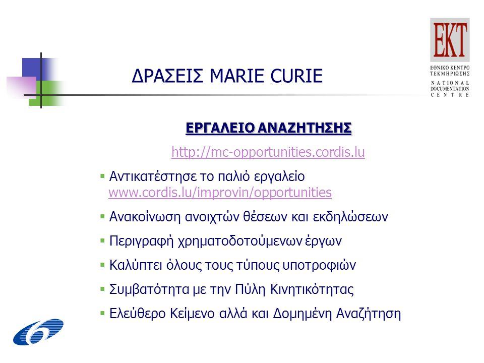 ΔΡΑΣΕΙΣ MARIE CURIE ΕΡΓΑΛΕΙΟ ΑΝΑΖΗΤΗΣΗΣ http://mc-opportunities.cordis.lu  Αντικατέστησε το παλιό εργαλείο www.cordis.lu/improvin/opportunities www.cordis.lu/improvin/opportunities  Ανακοίνωση ανοιχτών θέσεων και εκδηλώσεων  Περιγραφή χρηματοδοτούμενων έργων  Καλύπτει όλους τους τύπους υποτροφιών  Συμβατότητα με την Πύλη Κινητικότητας  Ελεύθερο Κείμενο αλλά και Δομημένη Αναζήτηση