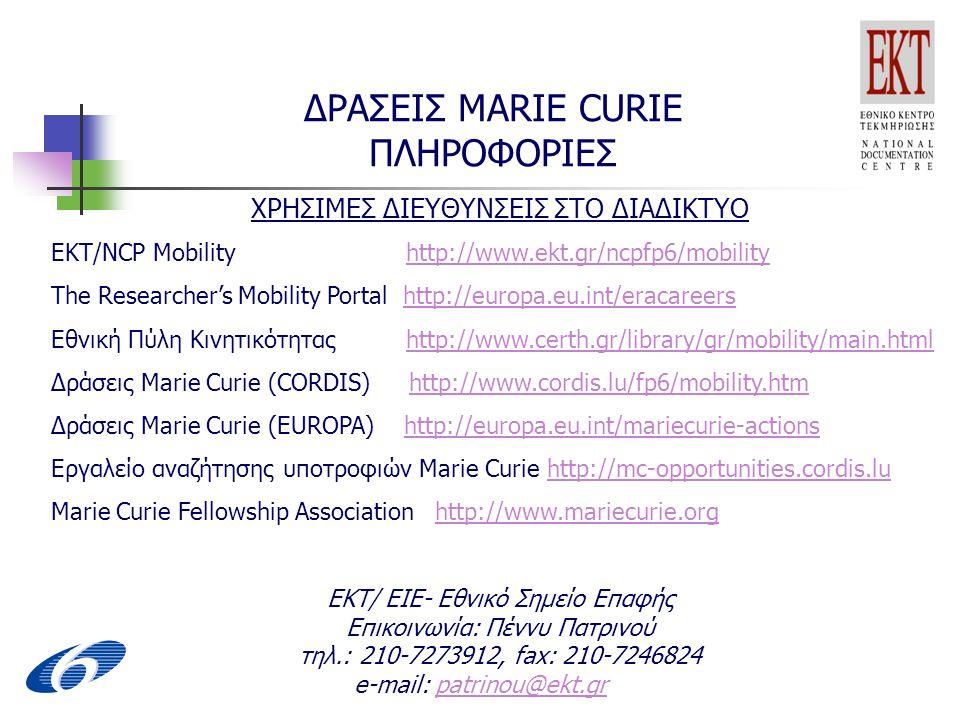 ΔΡΑΣΕΙΣ MARIE CURIE ΠΛΗΡΟΦΟΡΙΕΣ ΧΡΗΣΙΜΕΣ ΔΙΕΥΘΥΝΣΕΙΣ ΣΤΟ ΔΙΑΔΙΚΤΥΟ EKT/NCP Mobility http://www.ekt.gr/ncpfp6/mobilityhttp://www.ekt.gr/ncpfp6/mobility The Researcher's Mobility Portal http://europa.eu.int/eracareershttp://europa.eu.int/eracareers Εθνική Πύλη Κινητικότητας http://www.certh.gr/library/gr/mobility/main.htmlhttp://www.certh.gr/library/gr/mobility/main.html Δράσεις Marie Curie (CORDIS) http://www.cordis.lu/fp6/mobility.htmhttp://www.cordis.lu/fp6/mobility.htm Δράσεις Marie Curie (EUROPA) http://europa.eu.int/mariecurie-actionshttp://europa.eu.int/mariecurie-actions Εργαλείο αναζήτησης υποτροφιών Marie Curie http://mc-opportunities.cordis.luhttp://mc-opportunities.cordis.lu Marie Curie Fellowship Association http://www.mariecurie.orghttp://www.mariecurie.org ΕΚΤ/ ΕΙΕ- Εθνικό Σημείο Επαφής Επικοινωνία: Πέννυ Πατρινού τηλ.: 210-7273912, fax: 210-7246824 e-mail: patrinou@ekt.grpatrinou@ekt.gr
