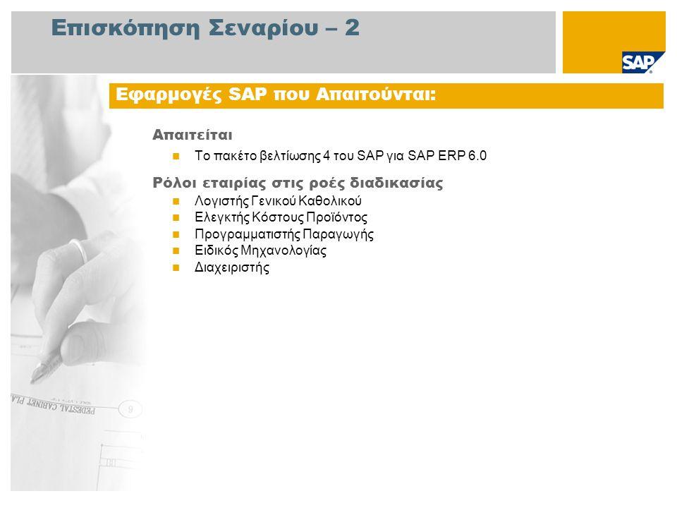 Επισκόπηση Σεναρίου – 2 Απαιτείται Το πακέτο βελτίωσης 4 του SAP για SAP ERP 6.0 Ρόλοι εταιρίας στις ροές διαδικασίας Λογιστής Γενικού Καθολικού Ελεγκτής Κόστους Προϊόντος Προγραμματιστής Παραγωγής Ειδικός Μηχανολογίας Διαχειριστής Εφαρμογές SAP που Απαιτούνται: