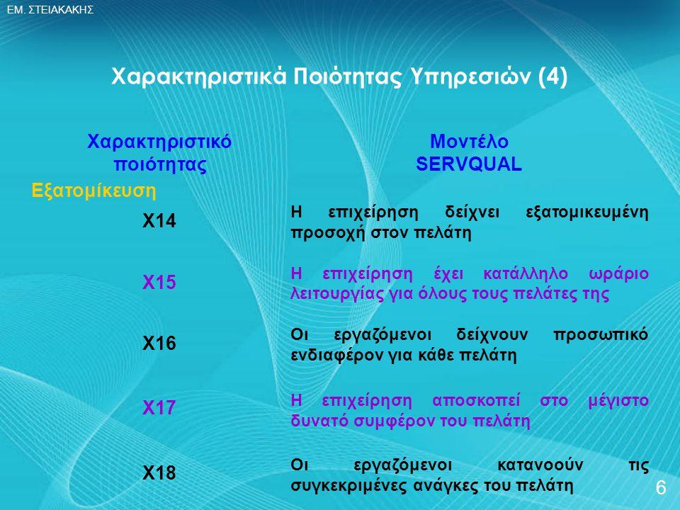 ΕΜ. ΣΤΕΙΑΚΑΚΗΣ 6 Χαρακτηριστικό ποιότητας Εξατομίκευση Χ14 Χ15 Χ16 Χ17 Χ18 Χαρακτηριστικά Ποιότητας Υπηρεσιών (4) Μοντέλο SERVQUAL Η επιχείρηση δείχνε