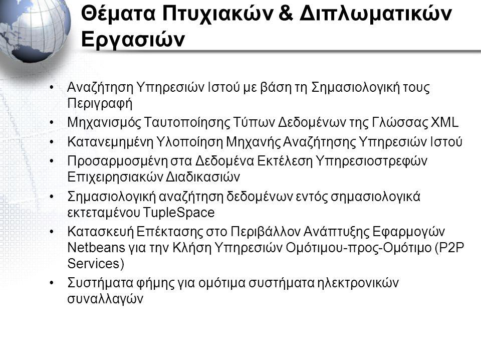 Θέματα Πτυχιακών & Διπλωματικών Εργασιών Αναζήτηση Υπηρεσιών Ιστού με βάση τη Σημασιολογική τους Περιγραφή Μηχανισμός Ταυτοποίησης Τύπων Δεδομένων της