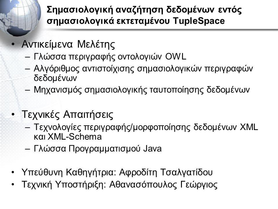 Σημασιολογική αναζήτηση δεδομένων εντός σημασιολογικά εκτεταμένου TupleSpace Αντικείμενα Μελέτης –Γλώσσα περιγραφής οντολογιών OWL –Αλγόριθμος αντιστο