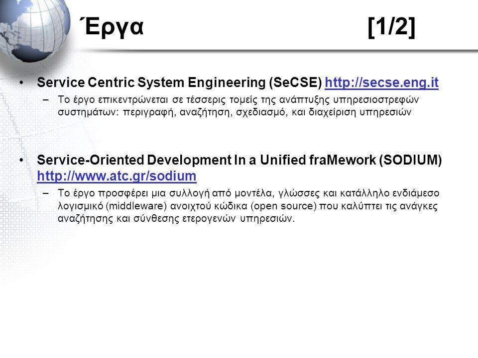 Έργα[1/2] Service Centric System Engineering (SeCSE) http://secse.eng.ithttp://secse.eng.it –Το έργο επικεντρώνεται σε τέσσερις τομείς της ανάπτυξης υ