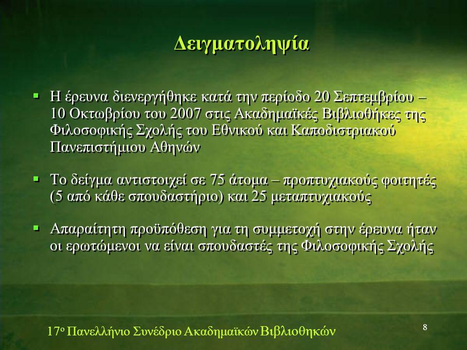 8 Δειγματοληψία  Η έρευνα διενεργήθηκε κατά την περίοδο 20 Σεπτεμβρίου – 10 Οκτωβρίου του 2007 στις Ακαδημαϊκές Βιβλιοθήκες της Φιλοσοφικής Σχολής του Εθνικού και Καποδιστριακού Πανεπιστήμιου Αθηνών  Το δείγμα αντιστοιχεί σε 75 άτομα – προπτυχιακούς φοιτητές (5 από κάθε σπουδαστήριο) και 25 μεταπτυχιακούς  Απαραίτητη προϋπόθεση για τη συμμετοχή στην έρευνα ήταν οι ερωτώμενοι να είναι σπουδαστές της Φιλοσοφικής Σχολής  Η έρευνα διενεργήθηκε κατά την περίοδο 20 Σεπτεμβρίου – 10 Οκτωβρίου του 2007 στις Ακαδημαϊκές Βιβλιοθήκες της Φιλοσοφικής Σχολής του Εθνικού και Καποδιστριακού Πανεπιστήμιου Αθηνών  Το δείγμα αντιστοιχεί σε 75 άτομα – προπτυχιακούς φοιτητές (5 από κάθε σπουδαστήριο) και 25 μεταπτυχιακούς  Απαραίτητη προϋπόθεση για τη συμμετοχή στην έρευνα ήταν οι ερωτώμενοι να είναι σπουδαστές της Φιλοσοφικής Σχολής 17 ο Πανελλήνιο Συνέδριο Ακαδημαϊκών Βιβλιοθηκών