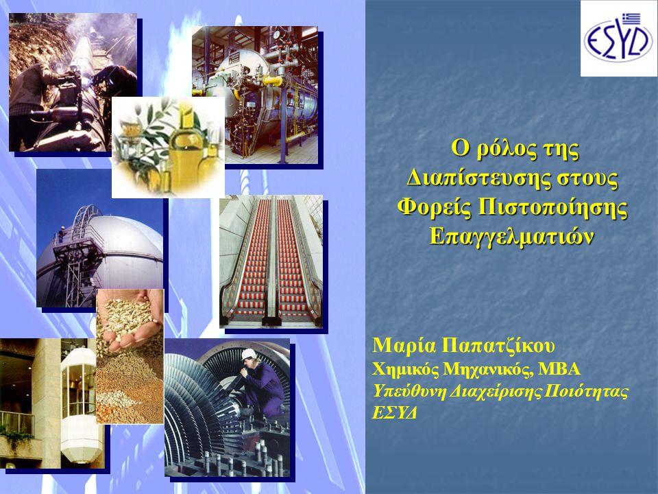 Ο ρόλος της Διαπίστευσης στους Φορείς Πιστοποίησης Επαγγελματιών Ο ρόλος της Διαπίστευσης στους Φορείς Πιστοποίησης Επαγγελματιών Μαρία Παπατζίκου Χημικός Μηχανικός, ΜΒΑ Υπεύθυνη Διαχείρισης Ποιότητας ΕΣΥΔ