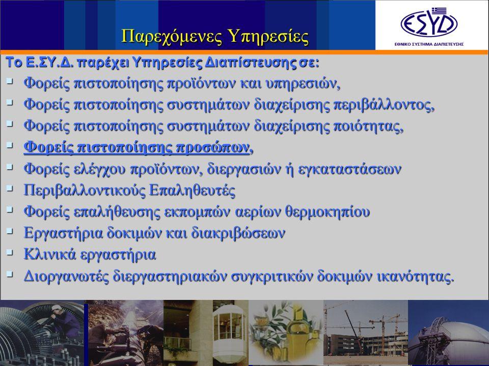 Διαπιστευμένοι Φορείς/ Εργαστήρια 480 Εργαστήρια 95 Φορείς Πιστοποίησης / Ελέγχου