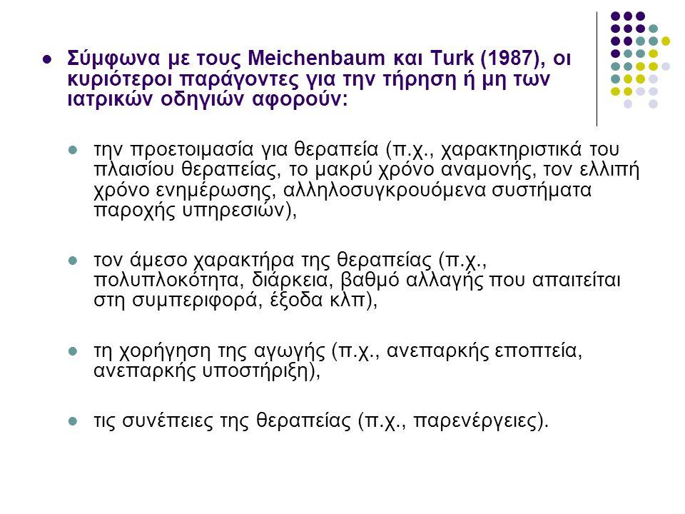 Σύμφωνα με τους Meichenbaum και Turk (1987), οι κυριότεροι παράγοντες για την τήρηση ή μη των ιατρικών οδηγιών αφορούν: την προετοιμασία για θεραπεία