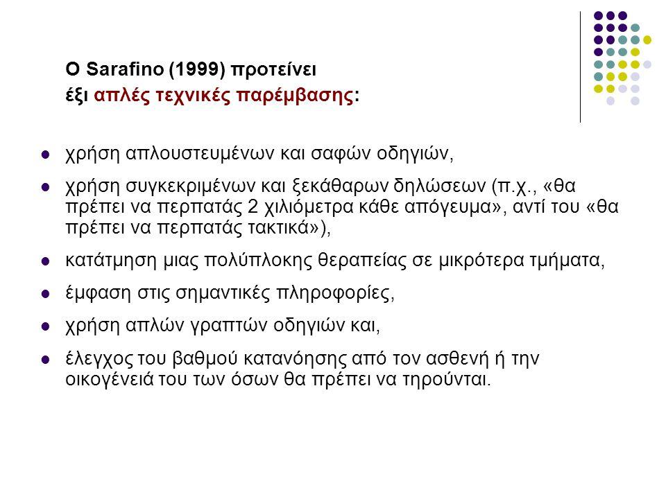 Ο Sarafino (1999) προτείνει έξι απλές τεχνικές παρέμβασης: χρήση απλουστευμένων και σαφών οδηγιών, χρήση συγκεκριμένων και ξεκάθαρων δηλώσεων (π.χ., «