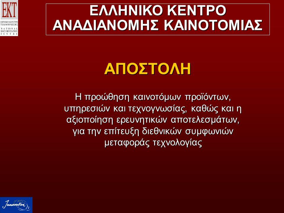 ΣΤΟΧΟΙ  Μεταφορά τεχνολογίας από και προς την Ελλάδα  Διάχυση και αξιοποίηση ερευνητικών αποτελεσμάτων εθνικών και ευρωπαϊκών προγραμμάτων  Ενίσχυση της ικανότητας εφαρμογής καινοτόμων τεχνολογιών των ελληνικών ΜΜΕ  Προώθηση διεθνών πρωτοβουλιών για την υποστήριξη της καινοτομίας:  Χρηματοδοτικοί πόροι, Start up  Προστασία πνευματικών δικαιωμάτων ΕΛΛΗΝΙΚΟ ΚΕΝΤΡΟ ΑΝΑΔΙΑΝΟΜΗΣ ΚΑΙΝΟΤΟΜΙΑΣ